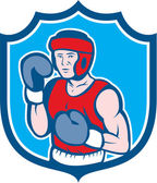 Amateur Boxer Stance Shield Cartoon — Stockvektor