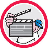 Movie Director Holding Clipboard Cartoon — Vector de stock