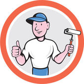 House Painter Paint Roller Thumbs Up Cartoon — Stok Vektör