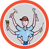 Tradesman Worker Six Hand Cartoon — Stock Vector