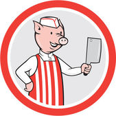 Pig Butcher Holding Knife Cartoon — Stock Vector
