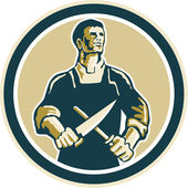 Butcher Cutter Knife Circle Retro — Stock Vector