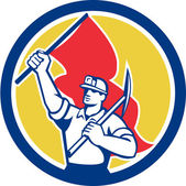 Coal Miner Hardhat Holding Axe and Flag Retro — Vecteur