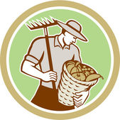 Organic Farmer Holding Rake Harvest Basket Retro — Vetorial Stock