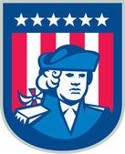American Patriot Head Bust Shield Retro — Stock Vector