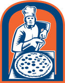 Pizza Maker Holding Pizza Peel Shield Woodcut — Vector de stock