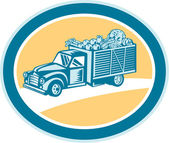 Vintage Pickup Truck Delivery Harvest Retro — Stock Vector