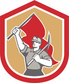 Coal Miner Hardhat Pick Axe Flag Shield — 图库矢量图片