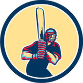Cricket Player Batsman Circle Retro — Stock Vector