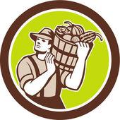 Organic Farmer Carrying Harvest Bucket Retro — Stock Vector