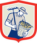 Organic Farmer Rake Harvest Basket Retro — Stock Vector