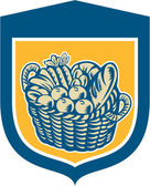 Crop Harvest Basket Shield Woodcut — Stockvector