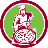 Pizza Maker Holding Pizza Peel Circle Woodcut — Vector de stock