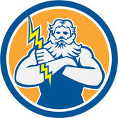Zeus Greek God Arms Cross Thunderbollt Circle Retro — Stockvector