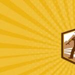 Business card Organic Farmer Walking Holding Scythe Retro — Stock Photo #50274749