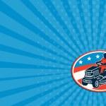 Business card American Gardener Mowing Lawn Mower Retro — Stock Photo