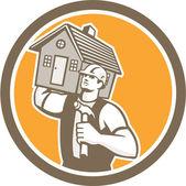 Builder Carpenter Carrying House Hammer Retro — Stock Vector