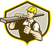 Carpenter Carry Lumber Thumbs Up Shield  — Vetorial Stock