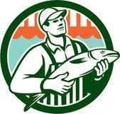 Fishmonger Holding Fish Circle Retro — Stock Vector
