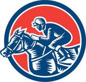 Jockey Horse Racing Circle Woodcut Retro — Stock Vector