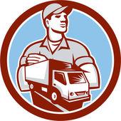 Removal Man Moving Delivery Van Circle Retro — Stock Vector