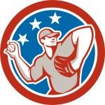 Постер, плакат: American Baseball Pitcher Throwing Ball Circle Retro