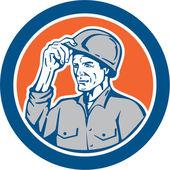Builder Carpenter Tipping Hardhat Circle Retro — Stock Vector