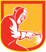 Welder Holding Welding Torch Shield Retro  — Vetorial Stock