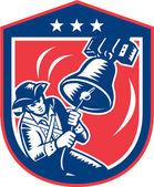 Patriota americano libertad de sonar la campana de xilografía retro — Vector de stock