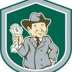 Businessman Rich Man Money Shield Cartoon — Stock Vector #50504985