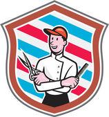 Barber Holding Scissors Comb Shield Cartoon — Stock Vector