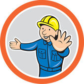 Builder Hands Out Circle Cartoon — Stock Vector