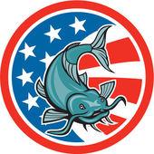 Catfish Swimming American Flag Circle Cartoon — Stock Vector