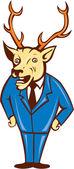 Stag Deer Hands on Hips Standing Cartoon — Stock Vector