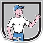 Mechanic Hold Spanner Waving Hand Cartoon — Stock Vector