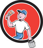 House Painter Holding Paintbrush Bucket Cartoon — Stock Vector
