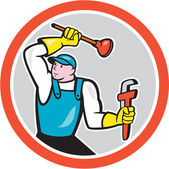 Plumber Holding Wrench Plunger Cartoon — Stock Vector