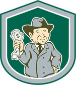 Businessman Rich Man Money Shield Cartoon — Stockvector