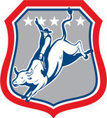American Rodeo Cowboy Bull Riding Cartoon — Stock Vector