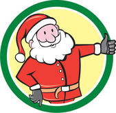 Santa Claus Father Christmas Thumbs Up Circle Cartoon — Stock Vector