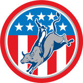 American Rodeo Bull Riding Circle Cartoon — Stock Vector