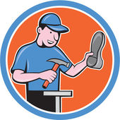 Shoemaker With Hammer Shoe Cartoon — Vector de stock