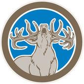 Stag Deer Roaring Circle Retro — Stock Vector