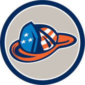 Fireman Hat Helmet USA Stars and Stripes Retro — Stock Vector