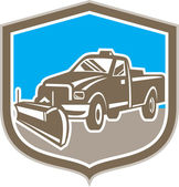 Snow Plow Truck Shield Retro — Stock Vector