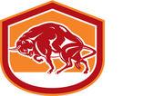 European Bison Charging Shield Retro — Stock Vector