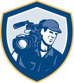 Cameraman Film Crew HD Camera Video Shield Retro — Stock Vector