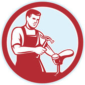 Shoemaker With Hammer Shoe Circle Retro — Vector de stock