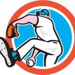 Постер, плакат: Baseball Pitcher Throwing Ball Circle Cartoon