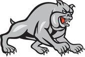 Bulldog Dog Mongrel Prowling Cartoon — Stock Vector